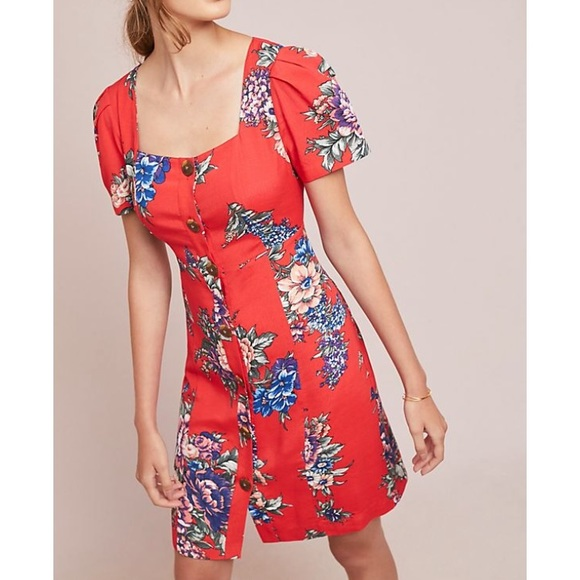 f4f356c5e776 Maeve Dresses & Skirts - Anthropologie Maeve red floral button-up dress